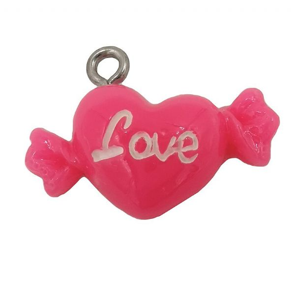 Acrylic Hot Pink Sweet Heart Charm